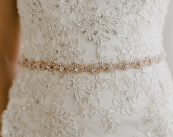 Skinny Rose Gold Bridal Sash   Thin Blush Rhinestone Wedding Belt   Skinny Rose Gold Bridal Belt   Rose Gold Bridesmaid Belt   THE CHLOE