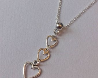 Heart Necklace , Silver Necklace , Boho Necklace , Love Necklace , Romantic Gift , Girlfriend Gift , Handmade Jewelry , Handmade Gift