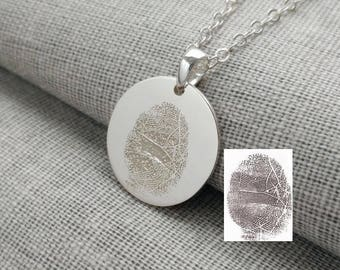 Personalized Fingerprint Necklace,Actual Finger Print Jewelry,Silver Fingerprint Memorial Necklace,Custom Silver Thumbprint Charm Necklace