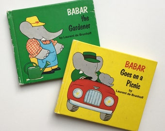 Two Tiny Collectible Babar Books from 1966 ~ Babar Goes on a Picnic & Babar the Gardener written by Laurent de Brunhoff.