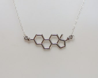 Silver Estrogen Molecule Necklace,