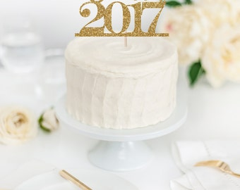 Class of 2017 Cake Topper - Graduation Party Decor - Graduation Glitter Cake Topper - Congratulations Class of 2017 - Grad Theme Decor