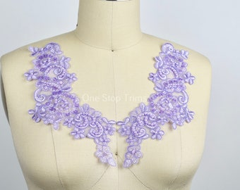 Lilac Lace Applique Beads and Sequins. Balanced Embroidery Chocker Applique. Lovely Ballet Dancer Costume DIY
