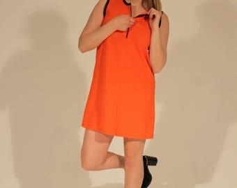 Orange Dress Mod Dress Shift Dress 60s Dress Orange Shift Dress A Line Dress Zipper Dress Summer Dress Bright Dress Medium Twiggy