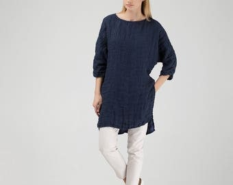 Dark Blue Linen Tunic with Side Slits and Longer Back