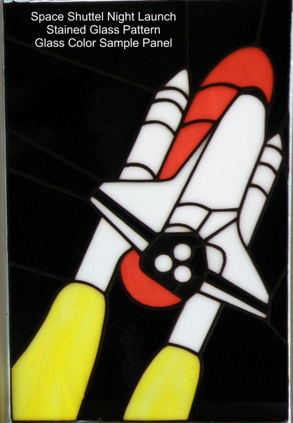 Space Shuttle Night Launch Stained Glass Pattern