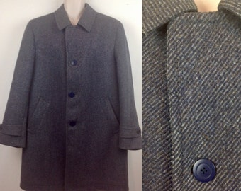 Vintage 90s Wool Coat, Blue Coat, Pure New Wool Coat, Winter Jacket, Mans Coat,  Smart Coat, Winter Coat, Size 44