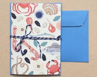 Postcard , Sea food (double-folded)