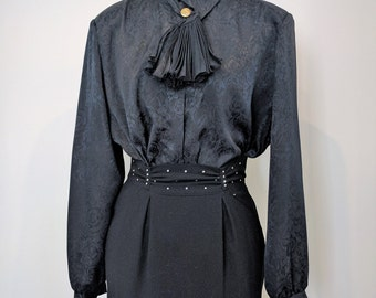 Vintage 1980's Black ELITE Gold Button Cravat 100% Georgette Polyester Blouse Made in Canada