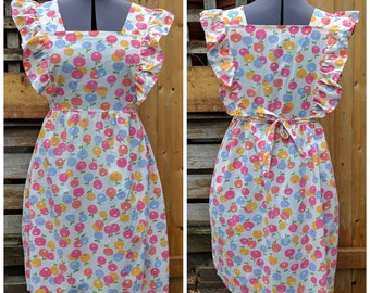 Vintage 1970's Ruffled Sleeve Pintafore Yellow Pink and Blue on White Cotton Dress with Full Tea Length Skirt Summer Dress
