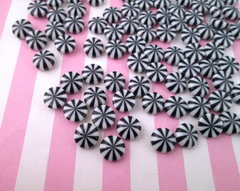 Miniature Black and White Peppermint Candy Cabochons, #029