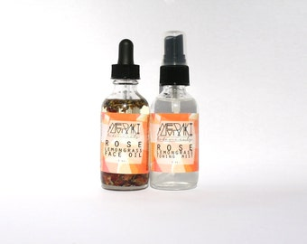 facial set for oily skin \ rose lemongrass face oil & rose lemongrass toning mist \ organic face oil \ natural face toner