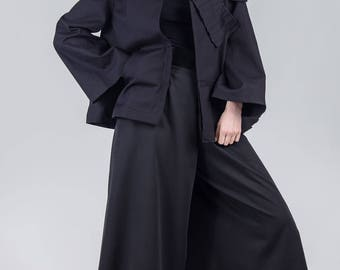 Black pleated avant garde jacket / Woman's unusual cotton jacket / Oversized black pocket jacket / A-line short fashion jacket / Fasada 1793