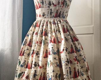 "Bespoke Alice in Wonderland, Rifle Paper Co Fabric Cotton Print ""Tabitha Dress"". Custom Orders Available. Vintage Bridesmaid Dress"
