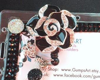 Nursing badge reel, rhinestones id clip clips, retractable lanyard stethoscope name tag bling blooms gift, design, lanyard, gump gumps art
