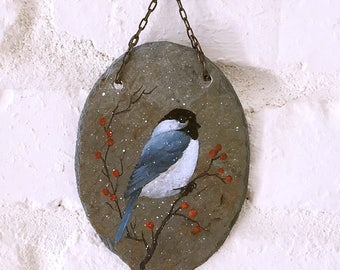 Chickadee Stone Painting Plaque