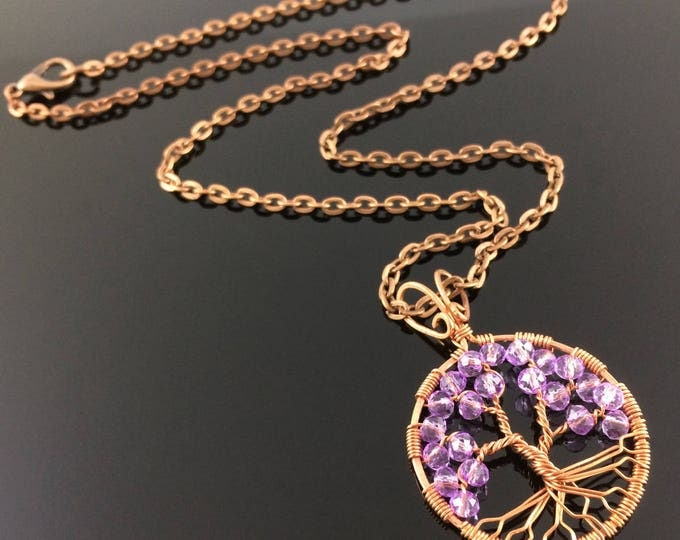 Amethyst Tree-Of-Life Copper Pendant Wire-wrapped Necklace Amethyst Jewelry February Birthstone Pisces Amulet Third Eye Chakra Creativity