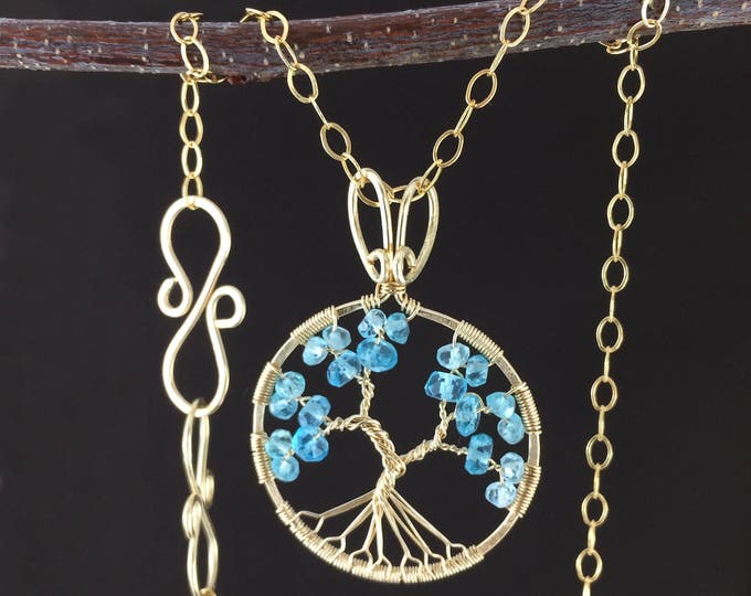 Aquamarine Necklace Gemstone Pendant Tree-of-Life Jewelry Gold Tree-Of-Life March Birthstone Pisces Necklace Gift for Mom Mothers Day Gift