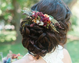 Boho hair comb Indian wedding Flower hair comb Woodland style Wedding hair comb Flower hair comb Bridal hair fashion accessories