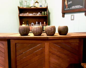 Vintage Ceramic Pina Colada Coconut Cups - Mid-Century Barware