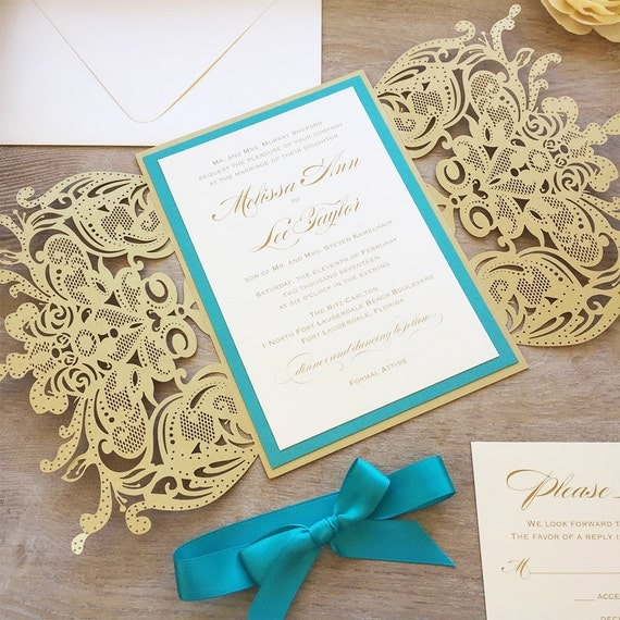 MELISSA - Gold Laser Cut Wedding Invitation with Teal Accents and Satin Ribbon Bow - Elegant Laser Cut Invite - Custom Colors
