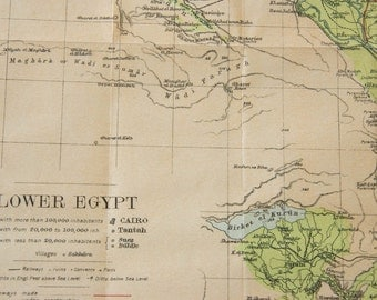 1907 Egypt Antique Map
