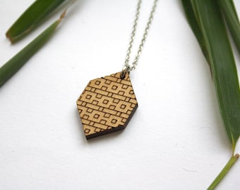Wooden jewelry, geometric jewel, man woman unisex, lozenge pendant, brick pattern, minimal modern, architectural style, made in France Paris