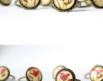 Birthday gift for her Yellow ring gift Copper ring women Red flower ring Bohemian jewelry Resin jewelry for wife Solitaire ring Promise gift