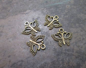 DOLLAR DAYS Butterfly charms package of 4 charms perfect for adjustable bangle bracelets Bronze finish charms