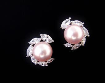 Bridal Pearl Earrings Cubic Zirconia Stud Earrings Wedding Jewelry Swarovski 10mm Pearl Bridesmaids Gift (E305)