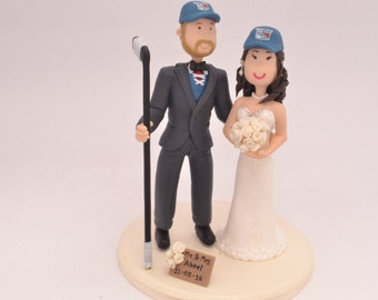 Hockey player groom and bride. New York Rangers fans. Handmade. Fully customizable.