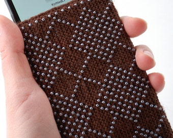 Cell Phone Pouch Brown Beaded, iPad case, iPad Air sleeve, ipad Mini case, Kindle sleeve, Paperwhite, Nexus case, Nook case, Kobo case