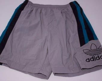 90s Adidas Tre Foil Multi Color Blocking Swim Trunks Shorts Size Large