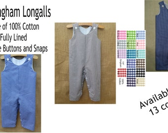 "Longalls 1/4"" Medium Gingham Boys Longall Large gingham Long all Long-all"