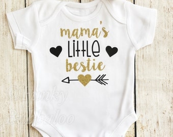 Mama's Little Bestie My First Mothers Day Headband Headwrap Black Gold Glitter Bodysuit Baby 1st Mothers Day Onesie Vest Baby Girl