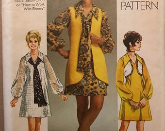 Simplicity 9182 - 1970s Mini Dress with Pointed Collar and Long Gathered Sleeves with Vest - Size 14 Bust 36