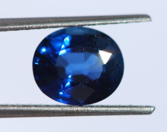 Faceted Sapphire, One piece natural, top color, royal blue, oval shape, 7.1 x 6.2mm, 1.45ctw