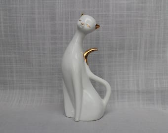 White Siamese Cat w/Gold Ears, Gold Plate Ears and Tail Cat Figurine, Porcelain White Kitten, Siamese Cat Collectible Figurine