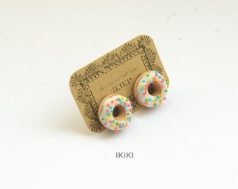 Mini Donut Studs, Glazed Donut Studs, Mini donut Earrings, Mini Sprinkle Donuts, Polymer Clay Donut Stud Earrings,