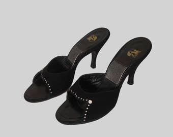 Authentic 50s Spring-o-lators Designer Suede Studded springolators heels / 1950s Stiletto Mule Slides / Viva /PinUp Bombshell Shoes