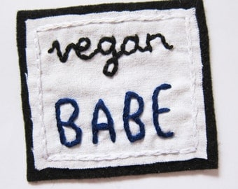 SALE vegan babe iron on patch - hand-embroidered patch - choice of colours -