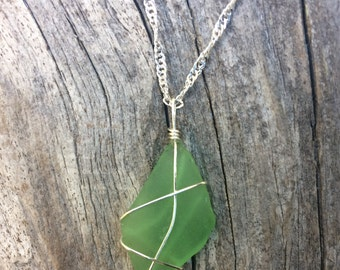 Green sea glass necklace