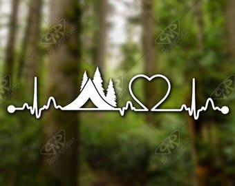 DECAL [Heartbeat Camping]Vinyl Decal, Bumper Sticker, Car Window Decal, Car Decal, Laptop Decal, Phone Decal, Water Bottle Decal