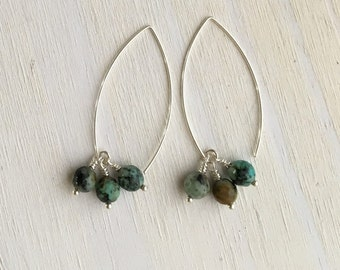 African Turquoise Cluster Earrings
