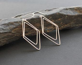 """Diamond Shaped Silver Earrings. Sterling Silver Geometric Earrings. """"Double Diamond Earrings""""- Large."""