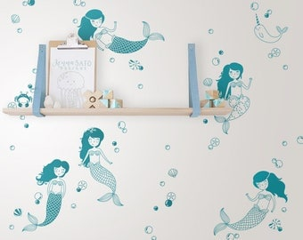Mermaids and Sea Creatures Wall Decals - Mermaids Nursery, Mermaid Decal, Nautical Decal, Nursery Decal, Nautical Nursery, Mermaid Stickers