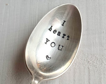 "Upcycled vintage silver spoon hand-stamped ""I heart you"" for Valentine's day!"