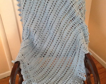 Crocheted Blue Baby Blanket - Handmade - Afghan