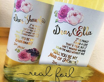 Real Gold Foil Wisteria Wedding Bridal Party Proposal Wine Labels Ask Bridesmaids Gift Wine Label Sticker / Custom Labels Ask Gift Best Wine