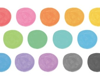 14 Watercolor Cliparts, Circles Clipart, Watercolor Circles, Handpainted Clipart